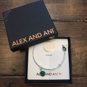Alex and Ani May Emerald Silver Bangle Bracelet